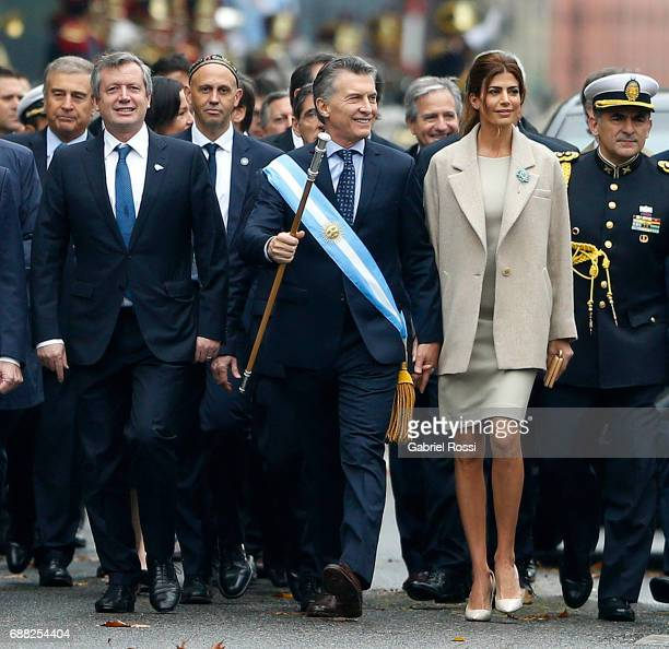 President of Argentina Mauricio Macri and his wife Juliana Awada walk with National Deputy Emilio Monzo and members of the National Cabinet prior the...