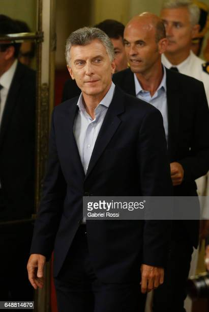 President of Argentina Mauricio Macri and Minister of Transport Guillermo Dietrich arrive for a press conference to announce the opening of biddings...