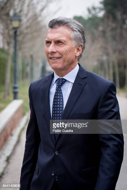President of Argentina Mauricio Macri arrives to meet Spanish Prime Minister Mariano Rajoy at Moncloa Palace on February 23 2017 in Madrid Spain...