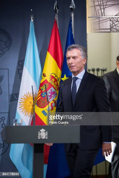 President of Argentina Mauricio Macri attends a joint press conference with Spanish Prime Minister Mariano Rajoy at Moncloa Palace on February 23...