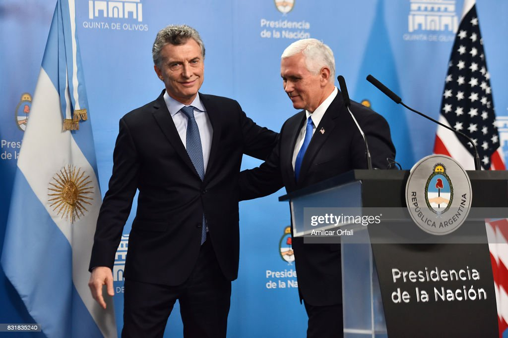 President of Argentina Mauricio Macri greets U.S. Vice President Mike Pence during a press conference as part of the official visit of US Vice President Mike Pence to Buenos Aires at the Olivos Presidential Residence on August 15, 2017 in Olivos, Argentina.