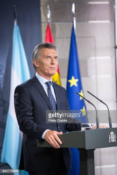 President of Argentina Mauricio Macri holds a joint press conference with Spanish Prime Minister Mariano Rajoy at Moncloa Palace on February 23 2017...