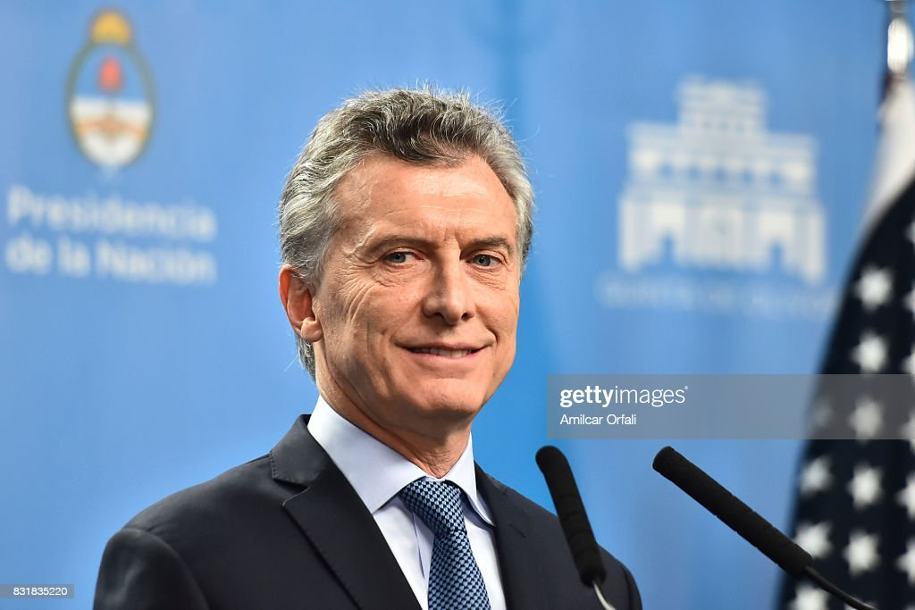 President of Argentina Mauricio Macri looks on during a press conference as part of the official visit of US Vice President Mike Pence to Buenos Aires at the Olivos Presidential Residence on August 15, 2017 in Olivos, Argentina.