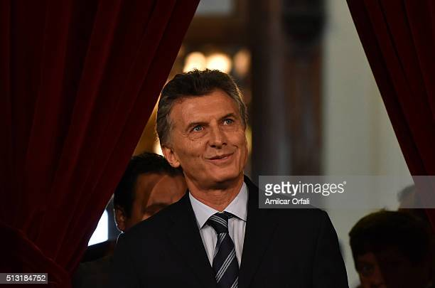 President of Argentina Mauricio Macri looks on during the inauguration of the 134rd Period of Congress Ordinary Sessions on March 01 2016 in Buenos...