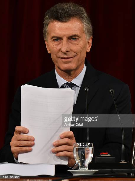 President of Argentina Mauricio Macri looks on during the inauguration of the 134th Period of Congress Ordinary Sessions on March 01 2016 in Buenos...