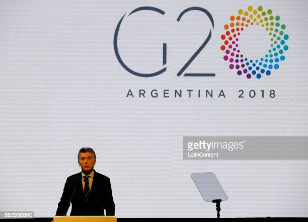 President of Argentina Mauricio Macri speaks during a ceremony to launch the Argentine G20 Presidency at Centro Cultural Kirchner on November 30 2017...