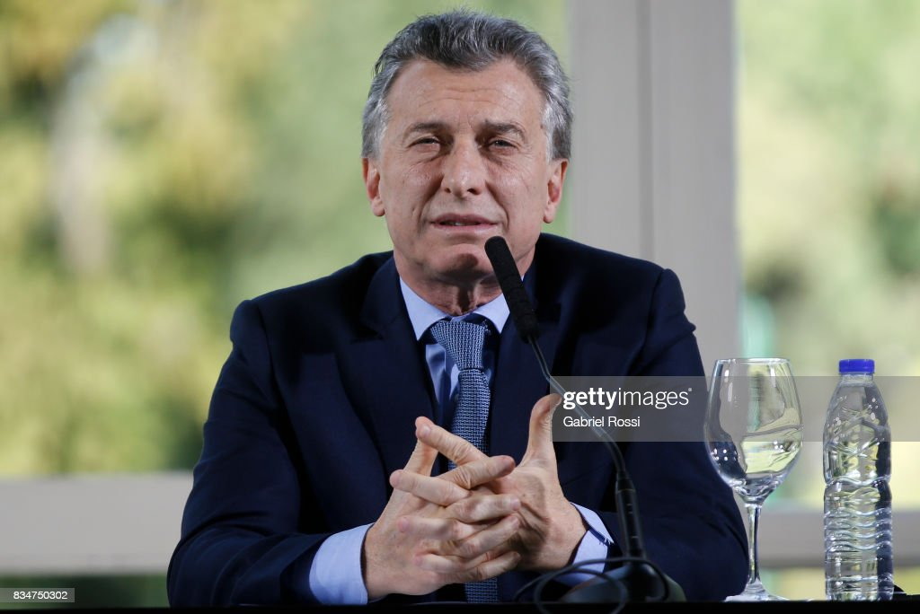 President of Argentina Mauricio Macri speaks during a meeting as part of the official visit of Jim Yong Kim President of The World Bank at Olivos Residence on August 17, 2017 in Olivos, Argentina.