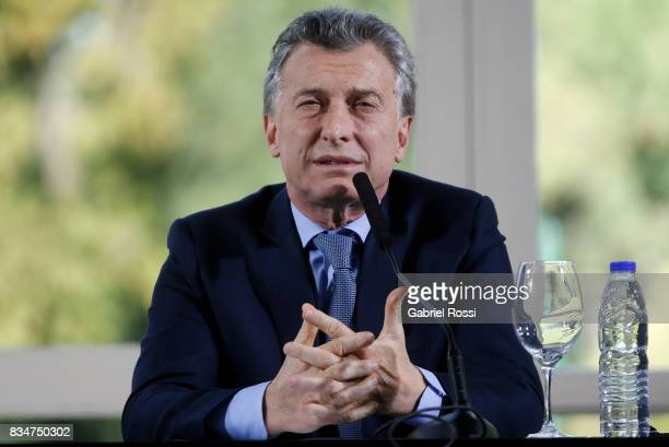 President of Argentina Mauricio Macri speaks during a meeting as part of the official visit of Jim Yong Kim President of The World Bank at Olivos...
