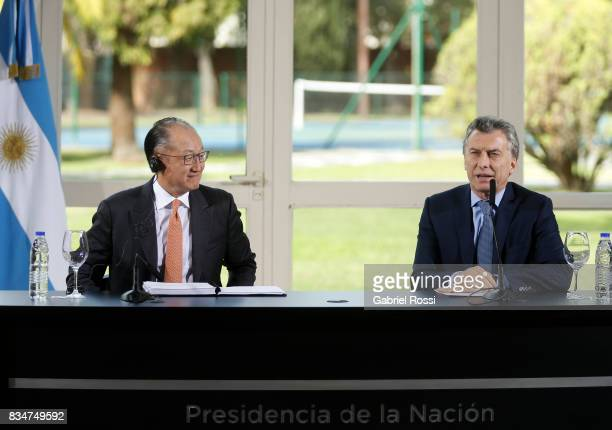 President of Argentina Mauricio Macri speaks during a press conference as part of the official visit of Jim Yong Kim President of The World Bank at...