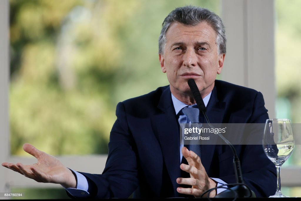 President of Argentina Mauricio Macri speaks during a press conference as part of the official visit of Jim Yong Kim President of The World Bank at Olivos Residence on August 17, 2017 in Olivos, Argentina.
