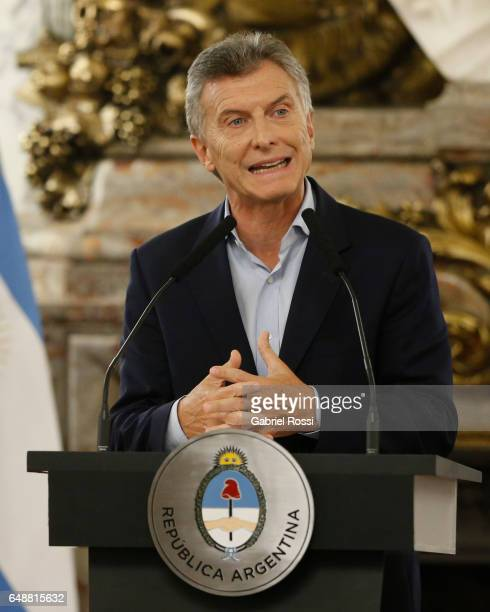 President of Argentina Mauricio Macri speaks during a press conference to announce the opening of biddings for commercial air transport allowing low...