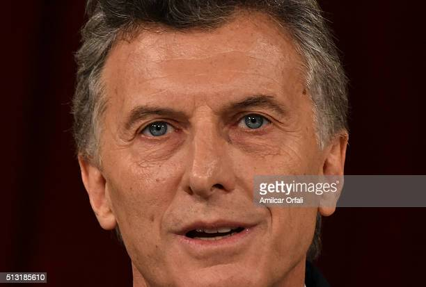 President of Argentina Mauricio Macri speaks during the inauguration of the 134th Period of Congress Ordinary Sessions on March 01 2016 in Buenos...