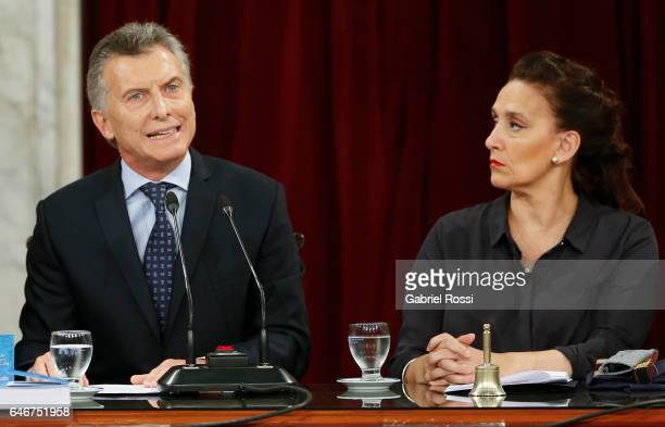 President of Argentina Mauricio Macri speaks while Vice President Gabriela Michetti looks at him during the inauguration of the 135th Period of...