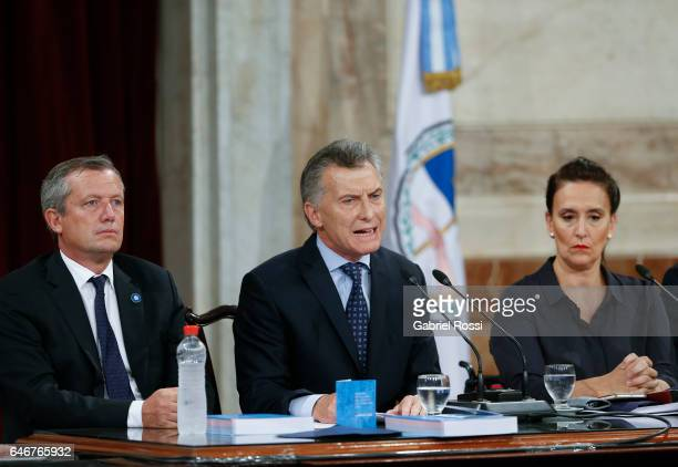 President of Argentina Mauricio Macri speaks while Vice President Gabriela Michetti and National Deputy Emilio Monzo look on during the inauguration...