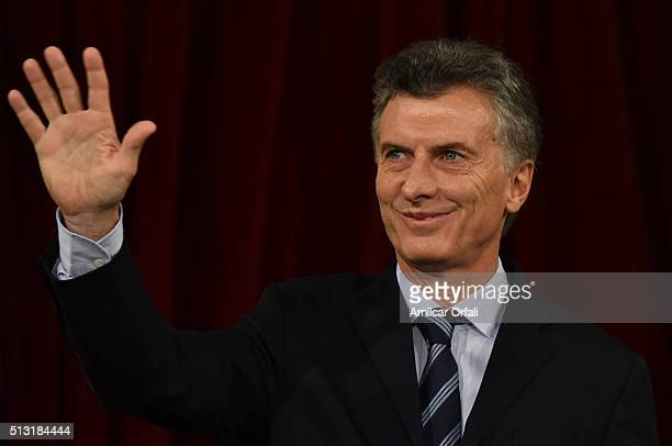 President of Argentina Mauricio Macri waves to the audience during the inauguration of the 134rd Period of Congress Ordinary Sessions on March 01...