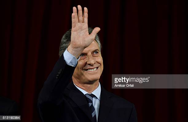 President of Argentina Mauricio Macri waves to the audience during the inauguration of the 134th Period of Congress Ordinary Sessions on March 01...