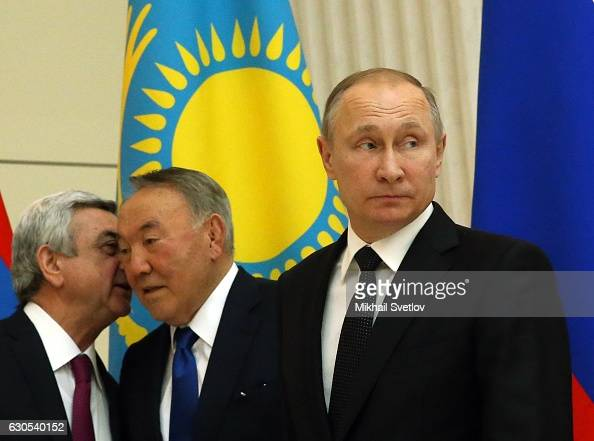 President of Armenia Serge Sargsyan Kazakh President Nursultan Nazarbayev and Russian President Vladimir Putin are seen during the Collective...