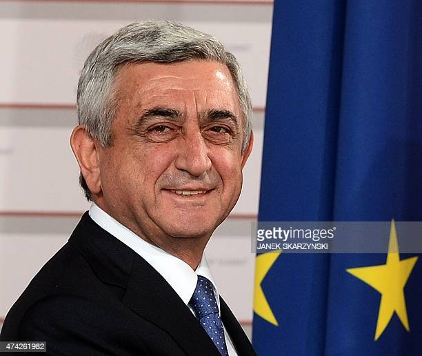 President of Armenia Serzh Sargsyan arrives at the House of the Blackhead for an informal dinner at the start of the fourth European Union eastern...