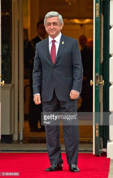 President of Armenia Serzh Sargsyan arrives for the working dinner for the heads of delegations at the Nuclear Security Summit on the South Lawn of...