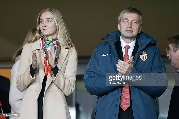 President of AS Monaco Dmitri Rybolovlev and his daughter Ekaterina Rybolovlev attend the UEFA Champions League round of 16 match between AS Monaco...
