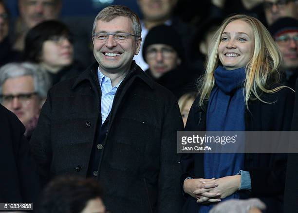 President of AS Monaco Dmitri Rybolovlev attends the French Ligue 1 match between Paris SaintGermain and AS Monaco at Parc des Princes stadium on...
