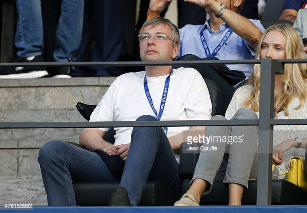 President of AS Monaco Dmitri Rybolovlev attends the UEFA Champions League Final between Juventus Turin and FC Barcelona at Olympiastadion on June 6...