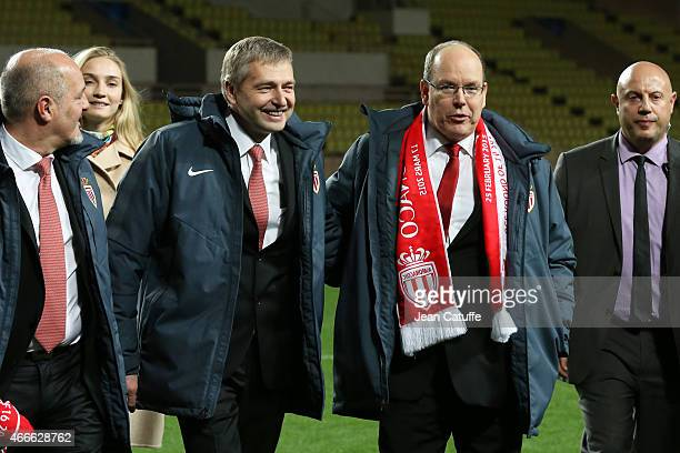 President of AS Monaco Dmitri Rybolovlev celebrates the qualification with Prince Albert II of Monaco after the UEFA Champions League round of 16...
