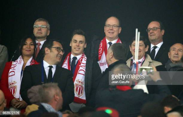 President of AS Monaco Dmitri Rybolovlev Louis Ducruet Prince Albert II of Monaco and French President Francois Hollande attend the French League Cup...