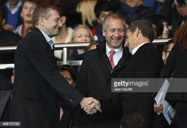 President of AS Monaco Dmitry Rybolovlev vicepresident of AS Monaco Vadim Vasilyev and former French President Nicolas Sarkozy attend the French...