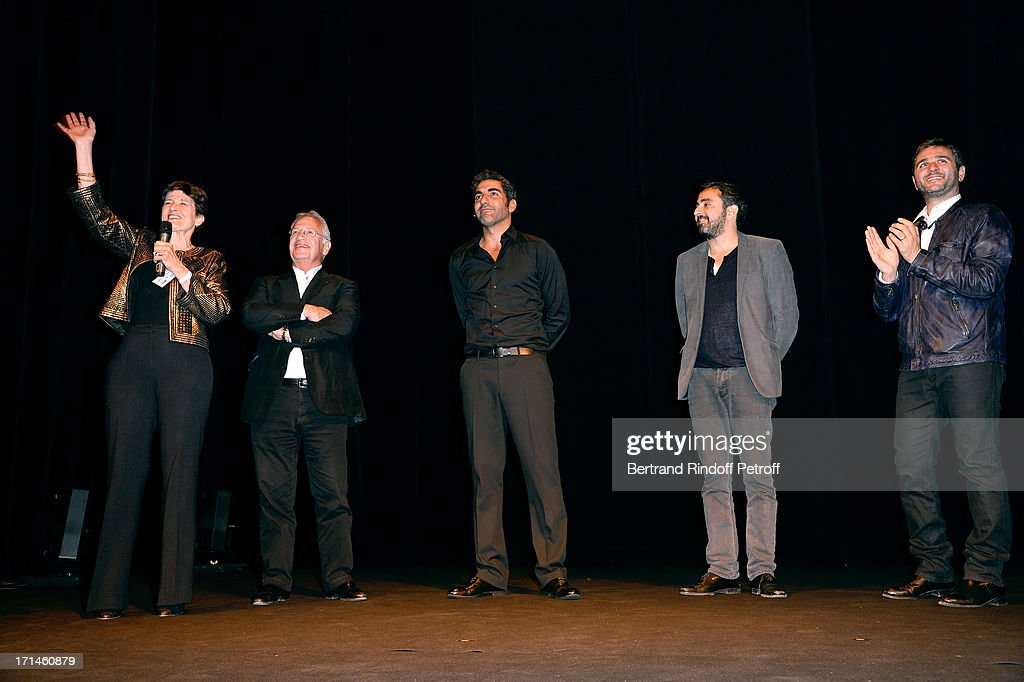 President of association 'Un Coeur Pour La Paix' Muriel Haim, Bernard Murat, Ary Abittan, Olivier Nakache and Eric Toledano on stage after the Ary Abittan performance at Theater Edouard VII benefiting 'Un Coeur Pour La Paix' on June 24, 2013 in Paris, France.