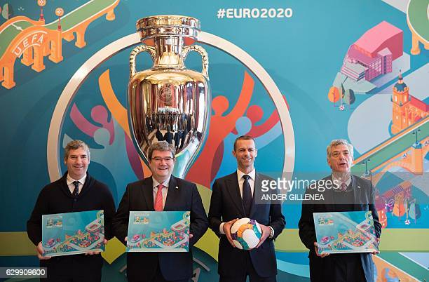 President of Athletic Club de Bilbao Josu Urrutia Mayor of Bilbao Jose Maria Aburto UEFA president Aleksander Ceferin and president of the Royal...