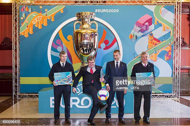 President of Athletic Club de Bilbao Josu Urrutia Mayor of Bilbao Jose Maria Aburto UEFA president Aleksander Ceferin and president of RFEF Angel...