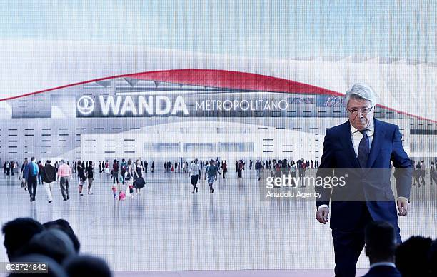 President of Atletico Madrid Enrique Cerezo announces the name of their new stadium Wanda Metropolitano during a press conference at the Vicente...