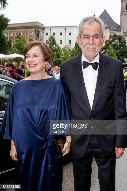 President of Austria Alexander van der Bellen and his wife Doris Schmidauer attends the 'La Clemenzia di Tito' premiere during the Salzburg Festival...