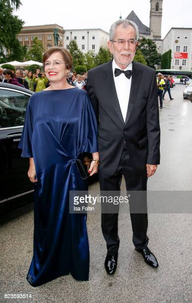President of Austria Alexander van der Bellen and his wife Doris Schmidauer attends the 'La Clemenzia di Tito' premiere during the Salzburg Festival...