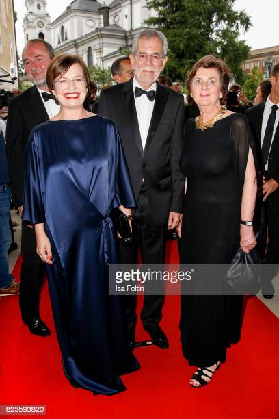 President of Austria Alexander van der Bellen with his wife Doris Schmidauer and Helga RablStadler attend the 'La Clemenzia di Tito' premiere during...