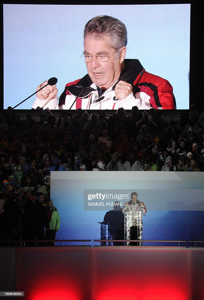 President of Austria Heinz Fischer speaks during the opening ceremony of the FIS World Ski Championships on February 4, 2013 in Schladming.