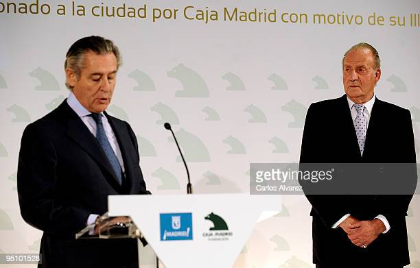 President of Banco Caja Madrid Miguel Blesa and King Juan Carlos of Spain attend the Inauguration of Caja Madrid Monument on December 23 2009 in...