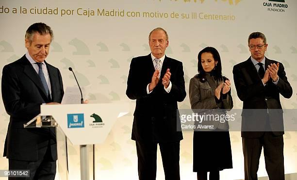 President of Banco Caja Madrid Miguel Blesa King Juan Carlos of Spain Spanish Housing Minister Beatriz Corredor and Madrid Mayor Alberto Ruiz...