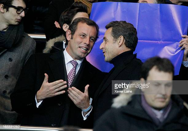 President of Barcelona FC Sandro Rosell and French Politician Nicolas Sarkozy attend the Quarter Final UEFA Champions League between Paris...