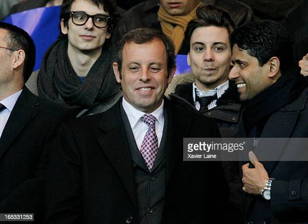 President of Barcelona FC Sandro Rosell and Nasser AlKhalaifi of Paris SaintGermain attend the Quarter Final UEFA Champions League between Paris...