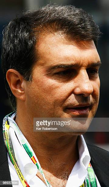 President of Barcelona Football Club Joan Laporta is seen in the paddock before the Spanish Formula One Grand Prix at the Circuit de Catalunya on May...