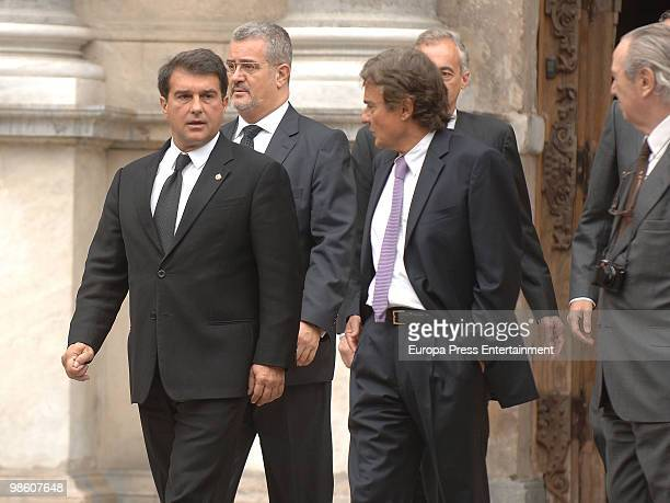 President of Barcelona Football Club Joan Laporta leaves former International Olympic Committee president Juan Antonio Samaranch's funeral chapel at...
