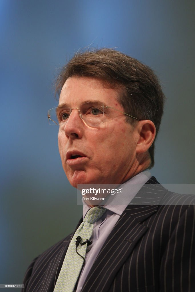 President of Barclays plc, Bob <a gi-track='captionPersonalityLinkClicked' href=/galleries/search?phrase=Robert+Diamond&family=editorial&specificpeople=641875 ng-click='$event.stopPropagation()'>Robert Diamond</a> addresses Confederation of British Industry, (CBI), members at the annual CBI conference at the Grosvenor Hotel on October 25, 2010 in London, England. The CBI conference brings together leading politicians and business experts to discuss ways of delivering economic growth.