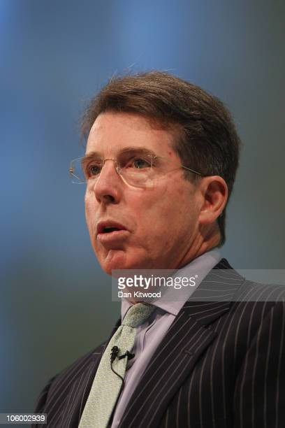 President of Barclays plc Bob Robert Diamond addresses Confederation of British Industry members at the annual CBI conference at the Grosvenor Hotel...