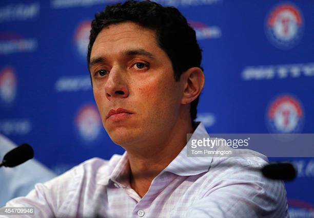 President of Baseball Operations and General Manager Jon Daniels of the Texas Rangers talks with the media after announcing the resignation of...