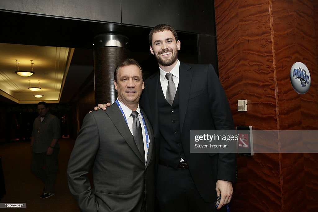 President of Basketball Operations Flip Saunders and Kevin Love of the Minnesota Timberwolves poses for a photo prior to the 2013 NBA Draft Lottery...