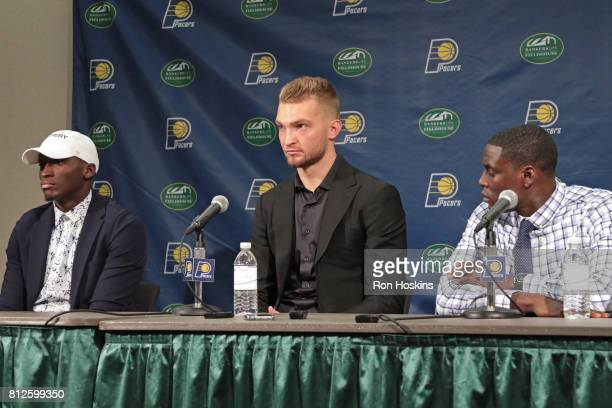 President of basketball operations Kevin Pritchard and Head Coach Nate McMillan of the Indiana Pacers introduce Victor Oladipo Domantas Sabonis and...