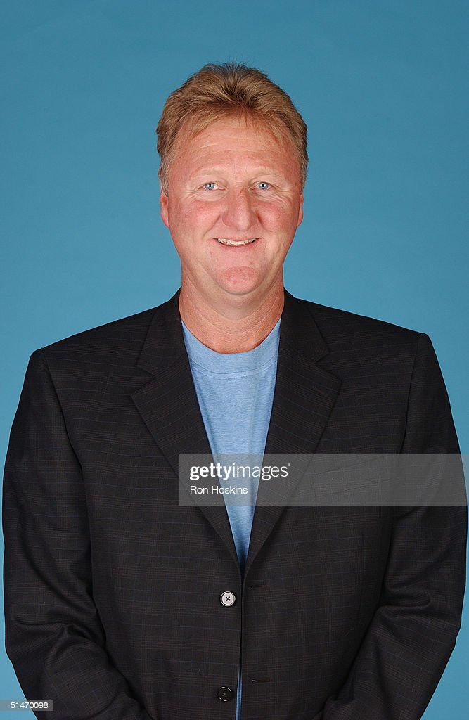 President of basketball operations Larry Bird of the Indiana Pacers poses for a portrait during NBA Media Day on October 4 2004 in Indianapolis...
