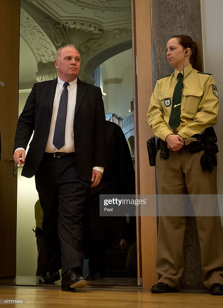 President of Bayern Muenchen Ulrich Hoeness (C) and his lawyer Hanns W. Feigen (L) enter the courtroom during Hoeness' trial for tax evasion at the Higher Regional Court on March 11, 2014 in Munich, Germany. Hoeness is accused of tax evasion by siphoning more than 33million Euros into a Swiss bank account.